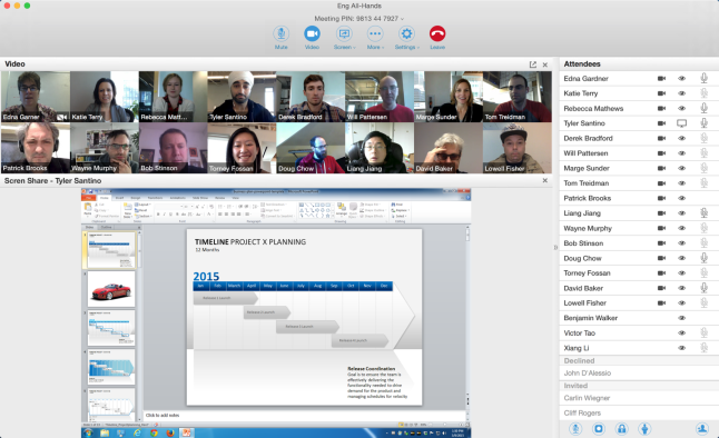 OSX 16 person video and screen meeting